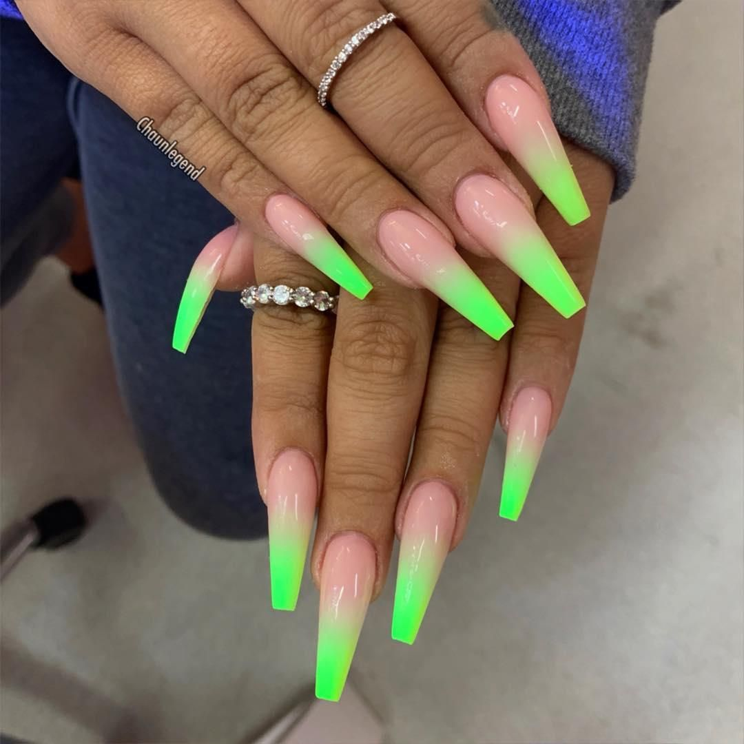 50 Impressive Long Coffin Nail Art Designs You Should Try Green Acrylic Nails Neon Green Nails Neon Acrylic Nails