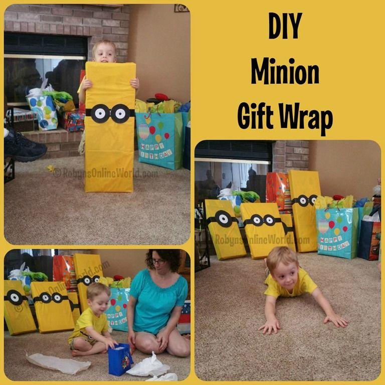 DIY minion gift wrap instructions - RobynsOnlineWorld.com