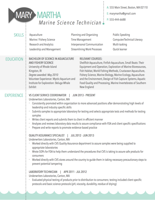graphic resume sle for marine science technician