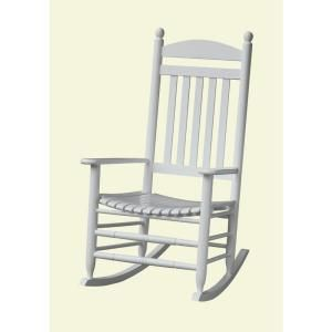 Bradley White Slat Patio Rocking Chair 200sw Rta At The Home Depot Patio Rocking Chairs Outdoor Rocking Chairs White Rocking Chairs