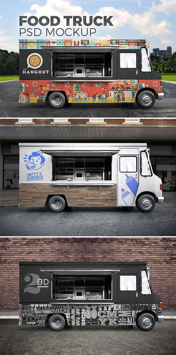 Food Truck Psd Mockup Food Truck Food Truck Design Trucks