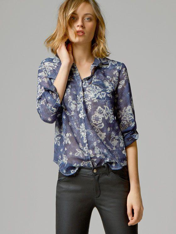 7a76bfeef1fc CAMISA ALGODÓN SEDA FLORES | moda mujer en 2019 | Blusa massimo ...