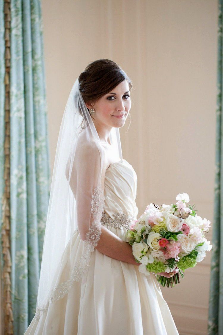 57 Gorgeous Wedding Hairstyles With Veil | Veil, Brunette wedding ...