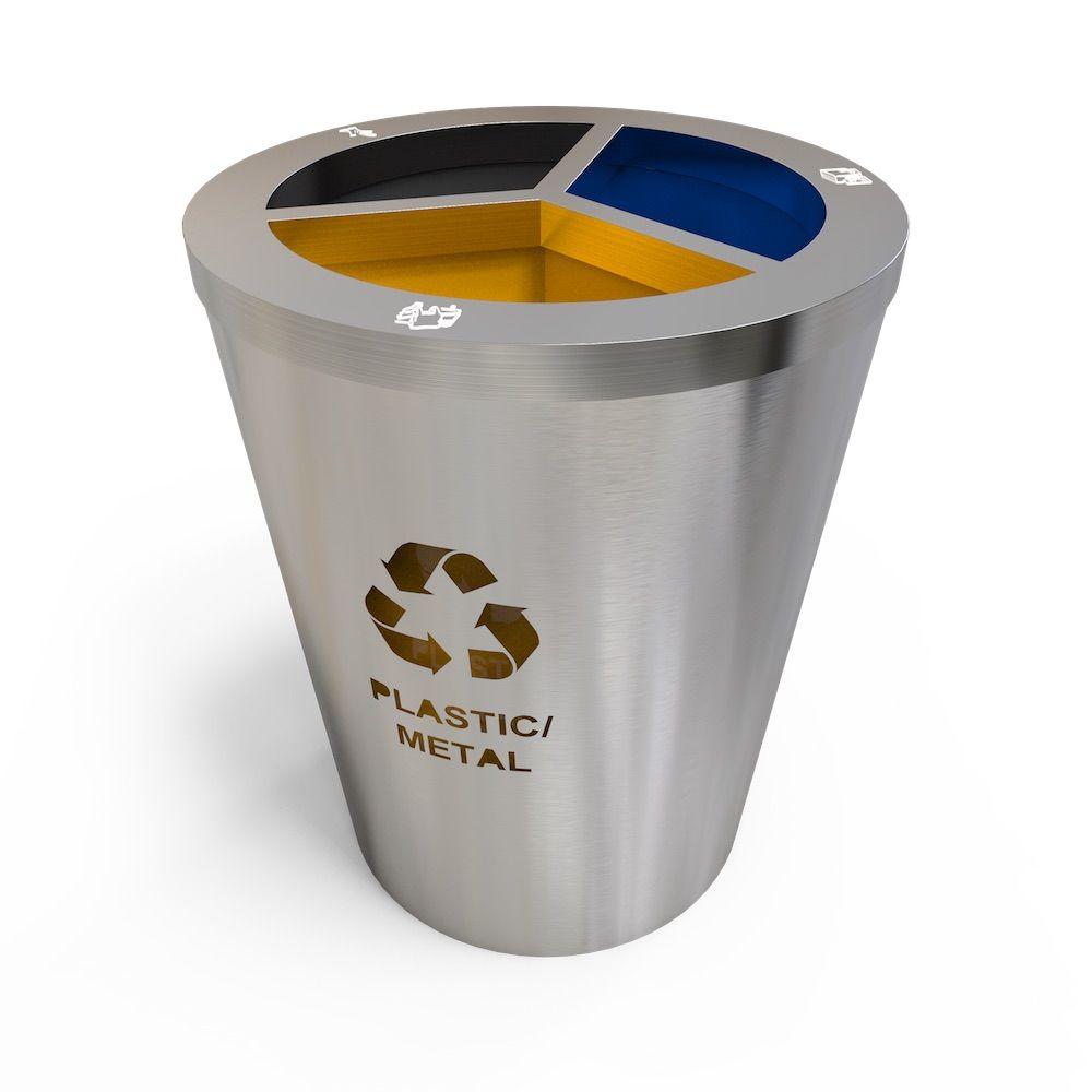 Geneve Collecteur Tri Selectif Inox De Gros Volume 3 Compartiments Trash Can Waste Collection Bins