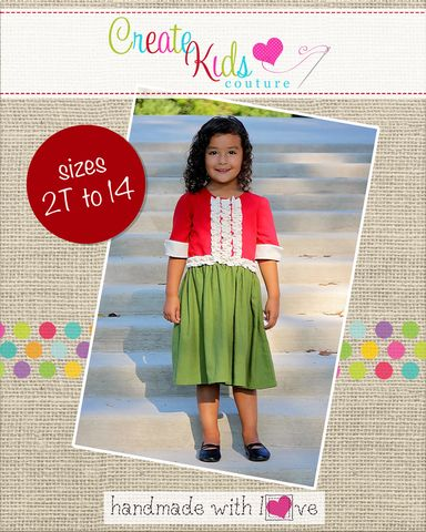 Leighton's is a classic dress that you will enjoy making again and again. It features a fitted scoop neck bodice that buttons up the back, optional lace or bodice ruffles on the bodice, short sleeves or sleeveless options, sleeve cuffs,  skirt pockets, and a ruffle option for the bottom of the dress. Leighton's looks fabulous layered with knit, fitted t-shirts such as Rainey's, Brenda's, or Tessa's in the colder months.