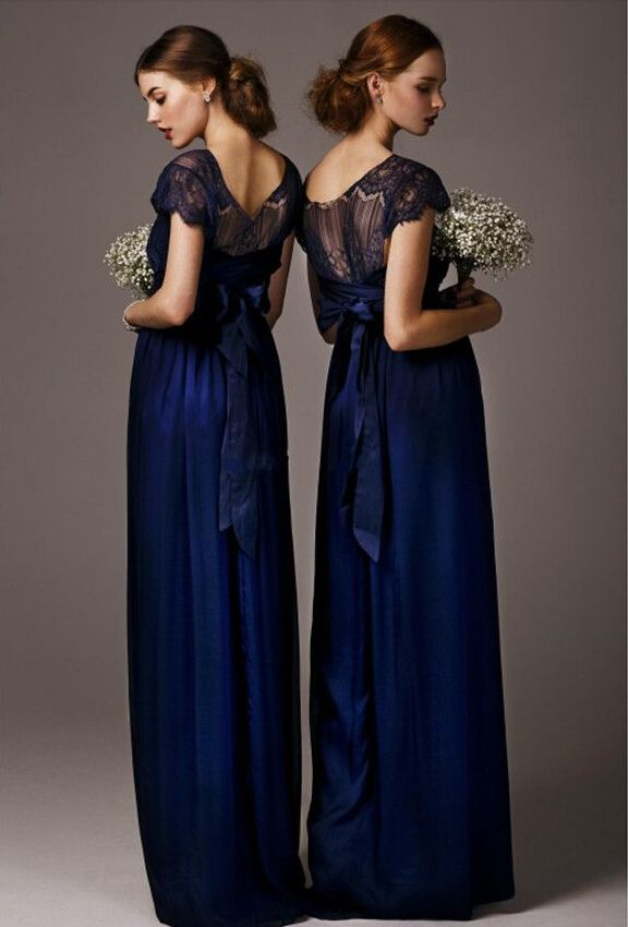 modest bridesmaid dresses, navy bridesmaid dresses, chiffon bridesmaid dresses, long bridesmaid dresses, 16087 - Thumbnail 1