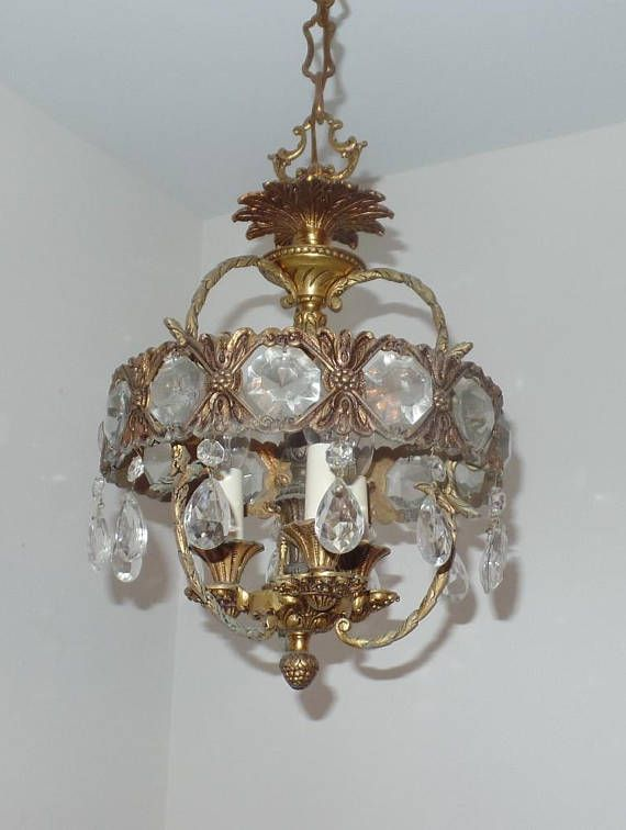 Vintage Brass And Crystal Chandelier Made In Spain Foyer Vintage