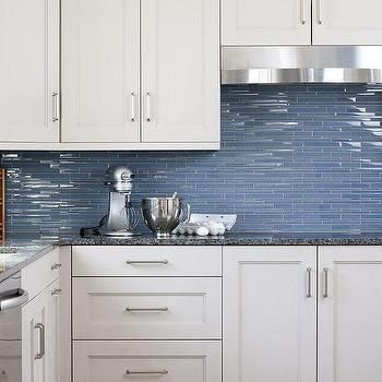 Marvelous Blue Glass KItchen Backsplash Tiles, Transitional, Kitchen
