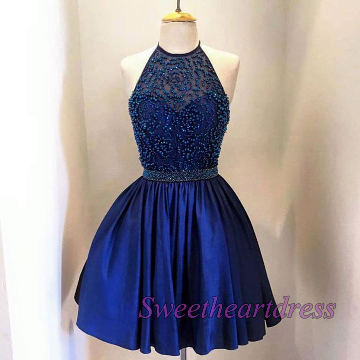 Vintage prom dresses short navy blue junior prom dress party dress