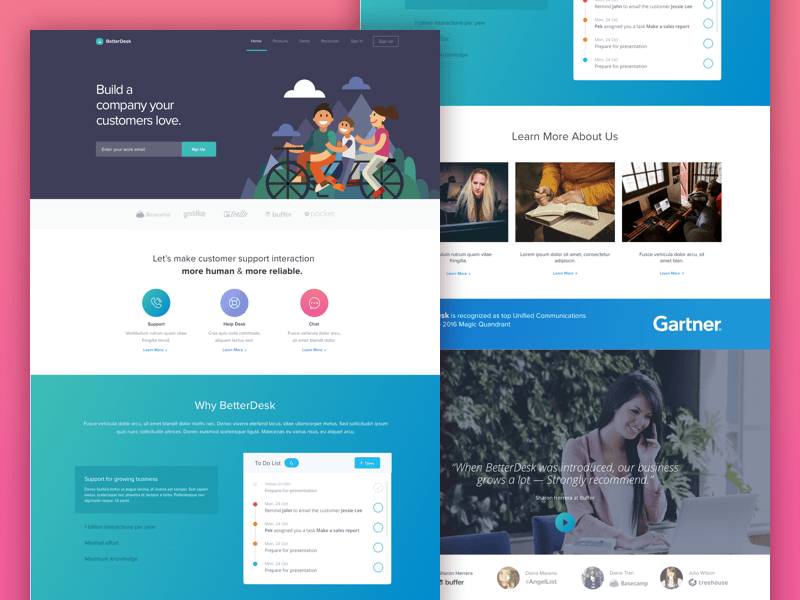Betterdesk Landing Page Page Layout Design Landing Page Website Template