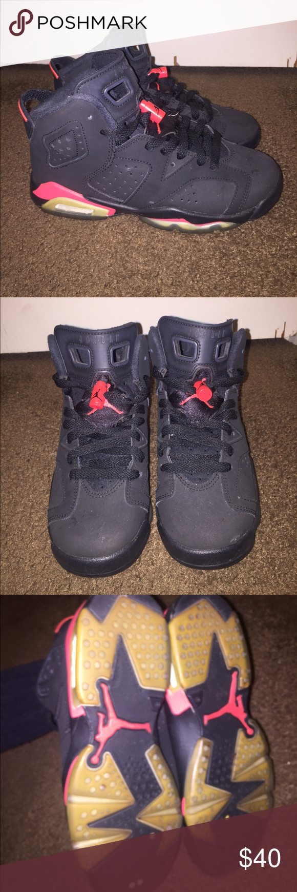 Jordan Retro 6 - size boys 4Y In great condition. Soles had been removed  before so the soles have never been worn, sneakers worn only a few times,  no crease ...
