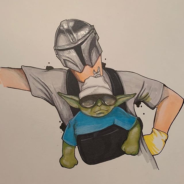 Mandalorian And Baby Yoda By Afterblossom On Tumblr Star Wars Fan Art Star Wars Art Star Wars Memes