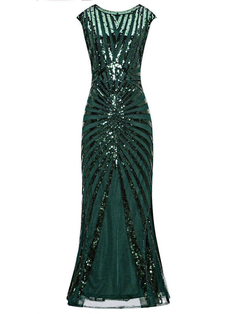 b150326e90 Drop Shipping Women S Fashion. 1920s Sequin Art Deco Maxi Dress