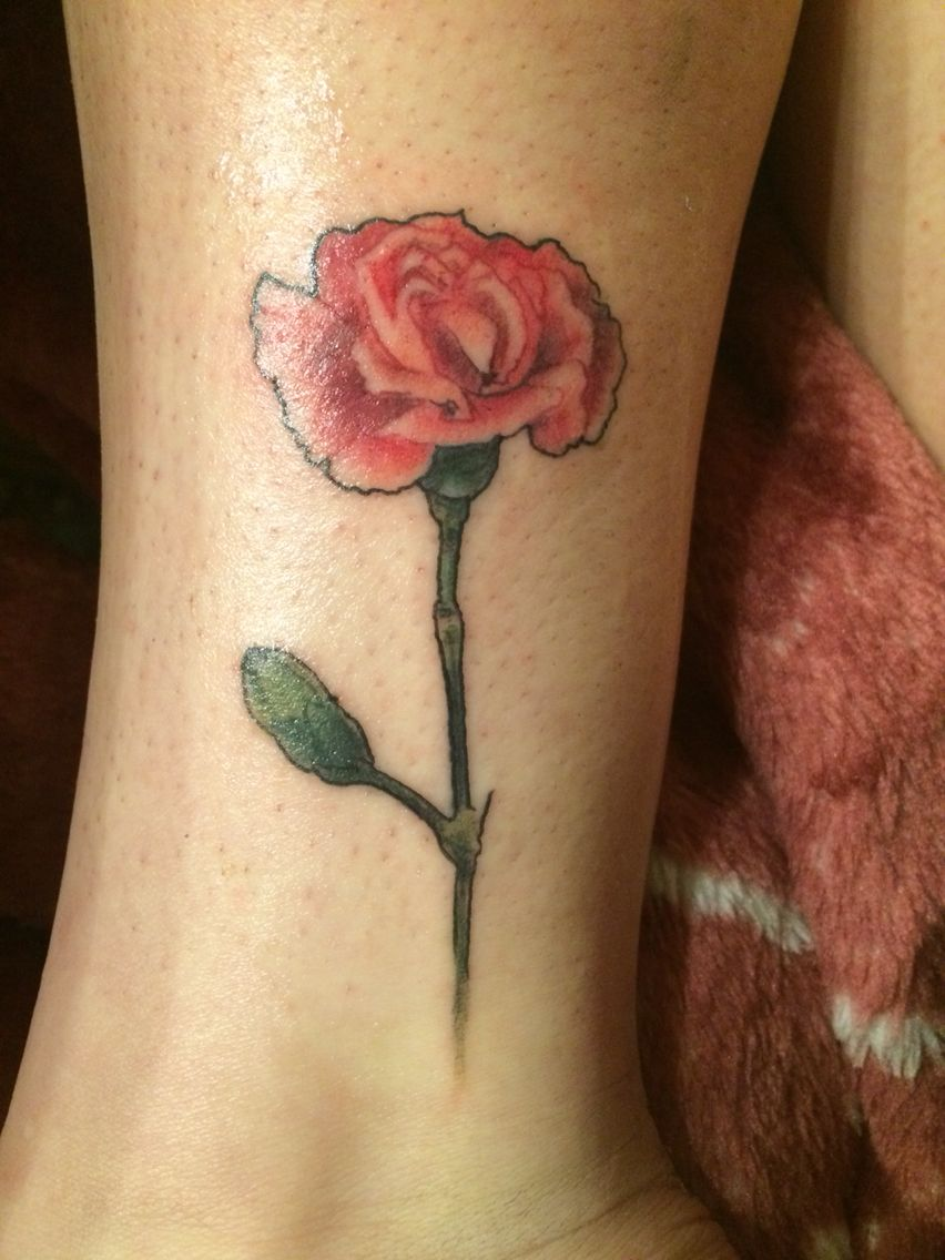 Pink Carnation Tattoo Pink Carnations Stand For A Mothers Love Carnation Tattoo Tattoos Elegant Tattoos