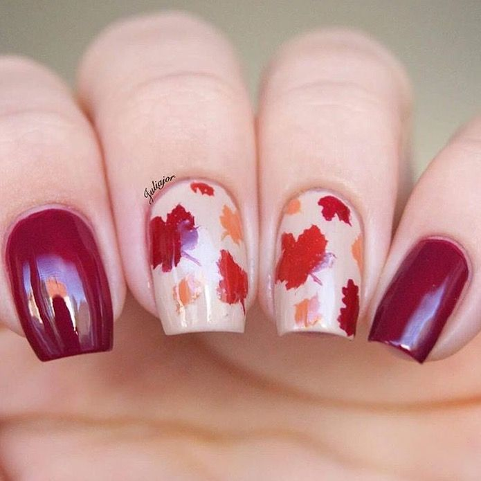 Absolutely Gorgeous Fall Manicure By Juliajor Ig Using Our Autumn Leaf Nail Stencils Found At Snailvi Fall Gel Nails Fall Nail Art Designs Fall Nail Designs