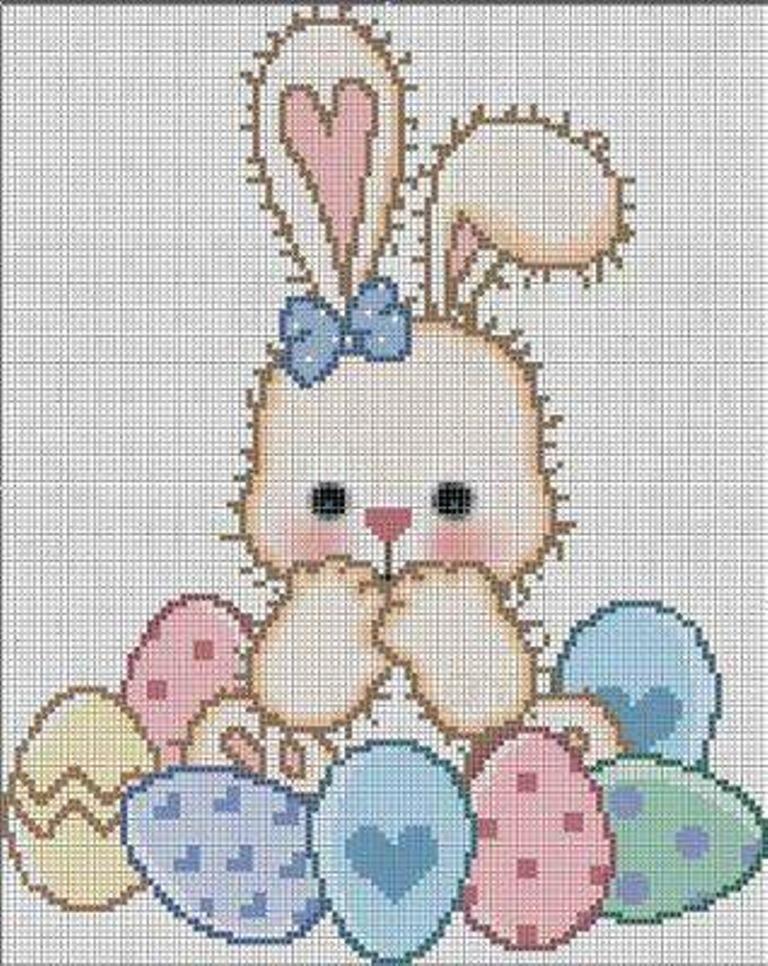 coelha com ovos coloridos   punto de cruz   Pinterest   Conejo ...