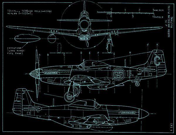 North American P 51D Mustang   Blueprint Poster