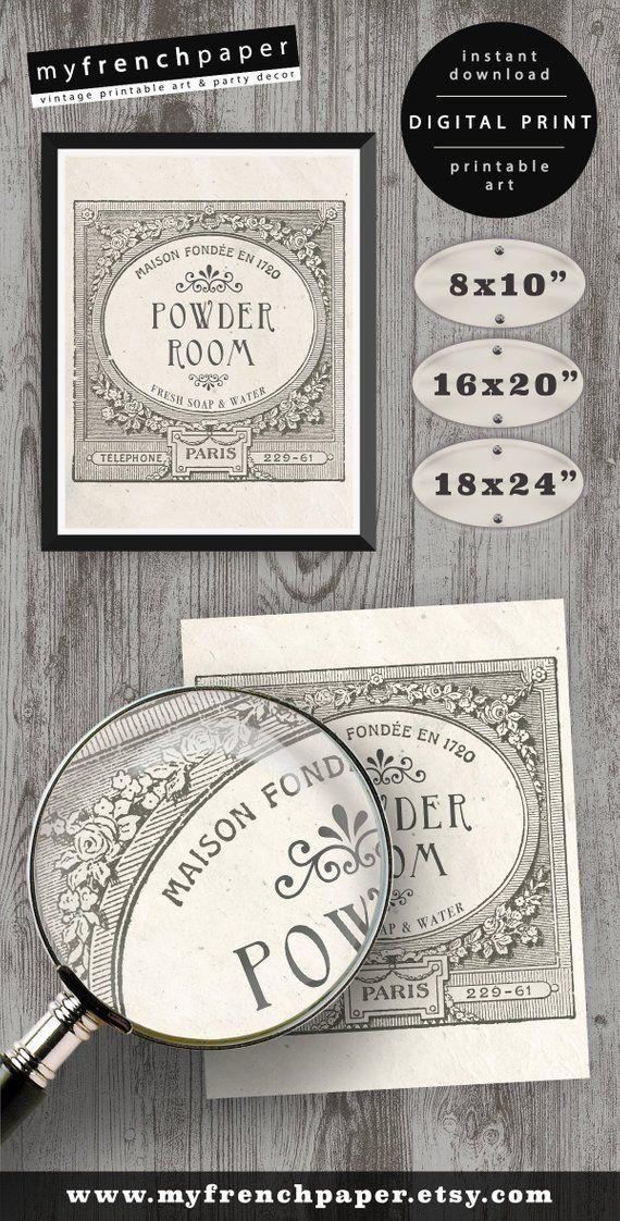 Powder Room Wall Art, Printable Bathroom Wall Decor, Powder Room Art