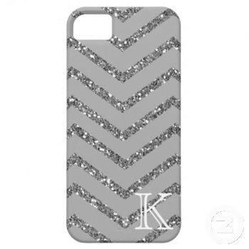 Gray Chevron, Silver Glitter, White Monogram iPhone 5 Covers | Just Sold on Zazzle