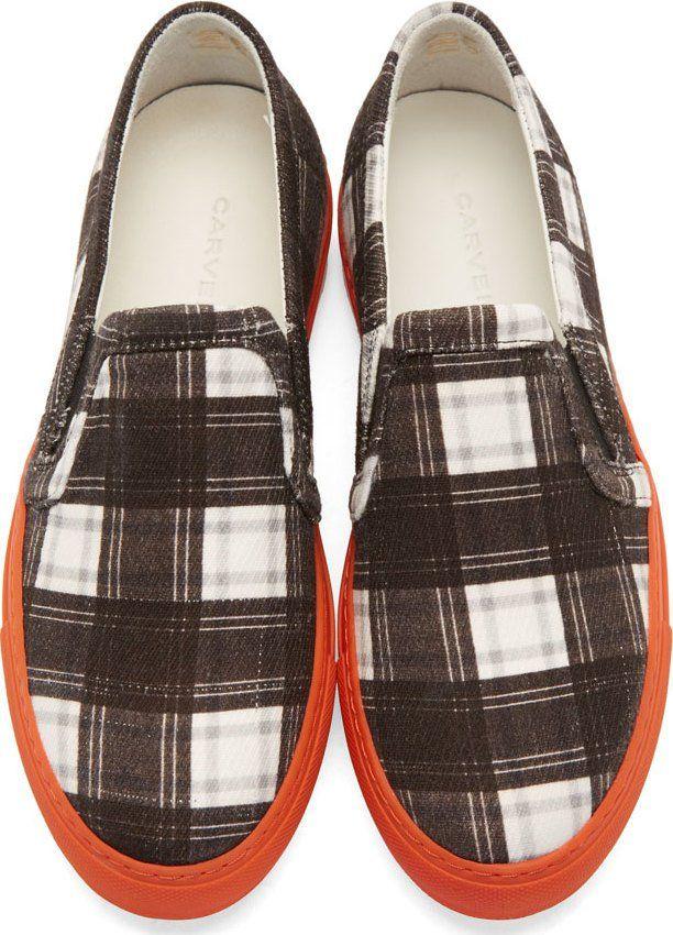 Carven Black & White Plaid Slip-On Sneakers