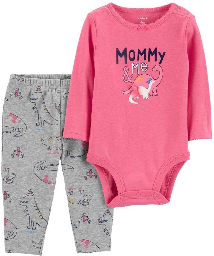 18d8fbdbaa90 Carter s Baby Girl Mommy   Me Dinosaur Bodysuit   Pants Set