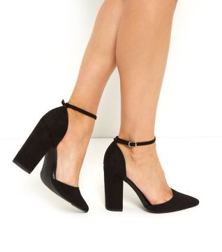 6e2389916eef Black Two Part Ankle Strap Block Heels - Court Shoes - Shoe Gallery ...