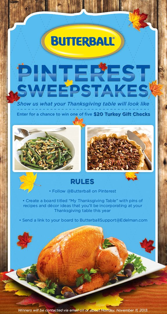Butterball My Thanksgiving Table Pin To Win Sweepstakes Rules