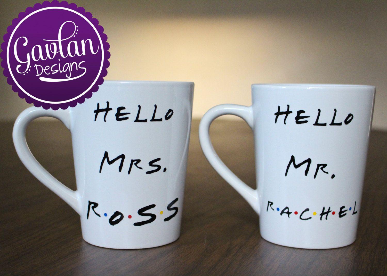 Friends tv show inspired set of coffee mugs hello mrs