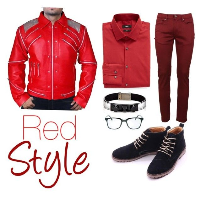 """Red style"" by amstyleblogger on Polyvore featuring Burberry, BOSS Hugo Boss, Yves Saint Laurent, 21 Men, men's fashion y menswear"
