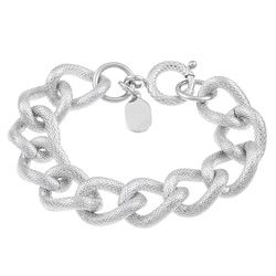 $32.49 Stainless Steel Textured 7.5-inch Curb Link Bracelet (16 mm)