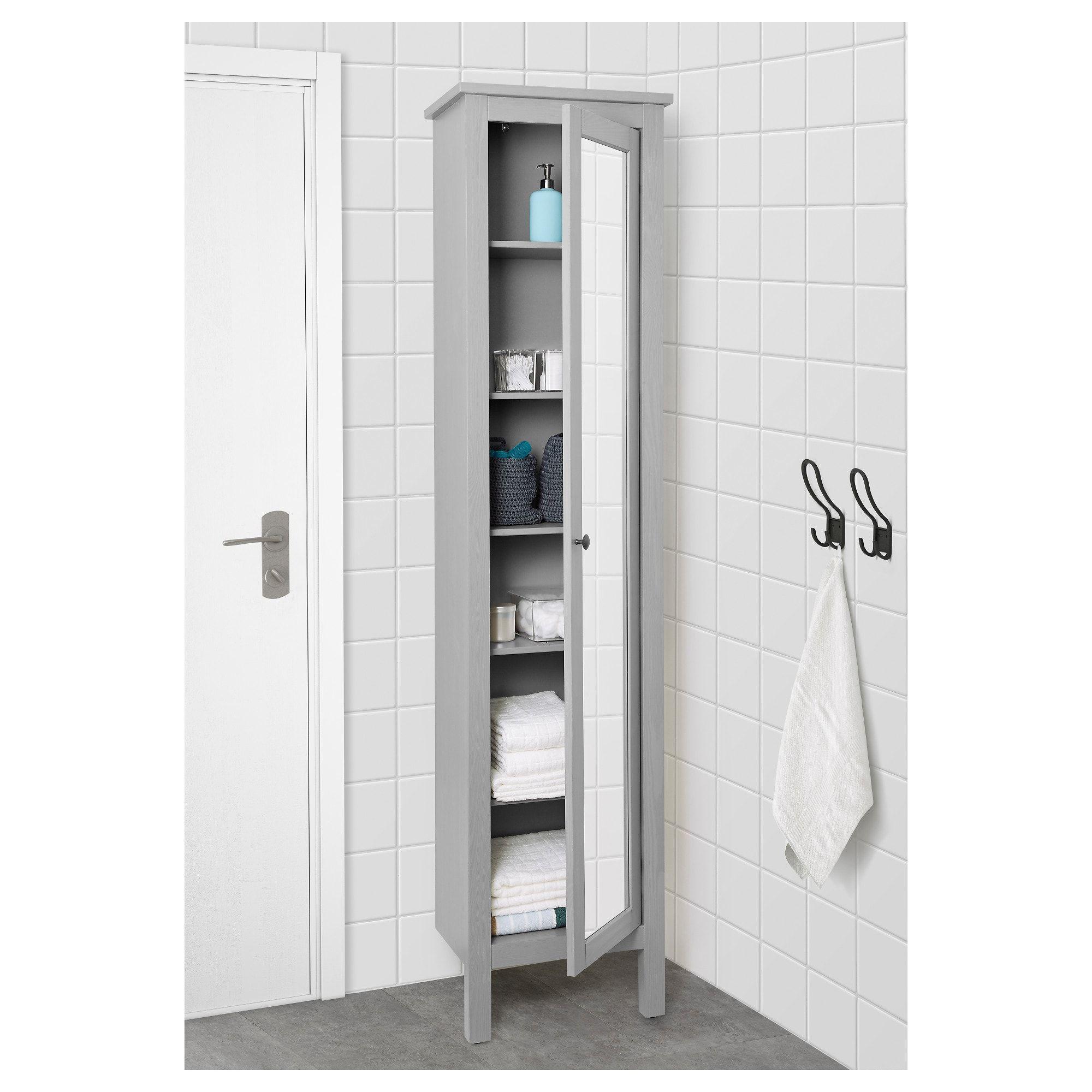 HEMNES Hochschrank mit Spiegeltür, grau, 49x31x200 cm ...