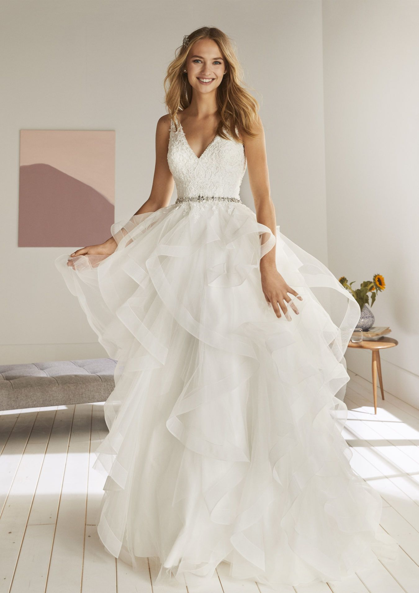 10 Pin Worthy Wedding Dresses You Need To Try On Right Now Ruffled Modest Wedding Dresses Tulle Wedding Dress Affordable Bridal Gowns
