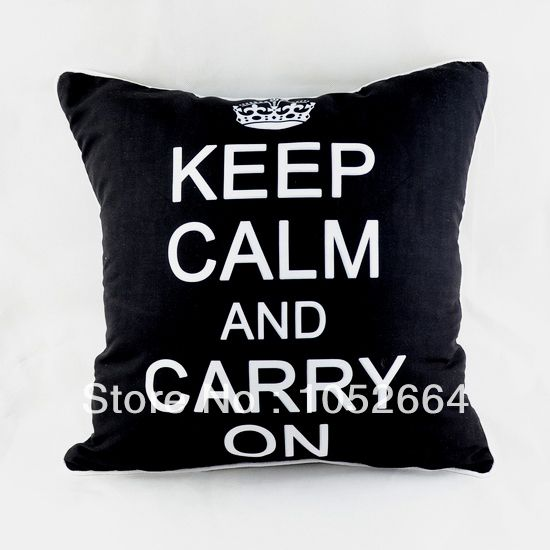 Keep Calm and Carry On Print Throw Pillow Case