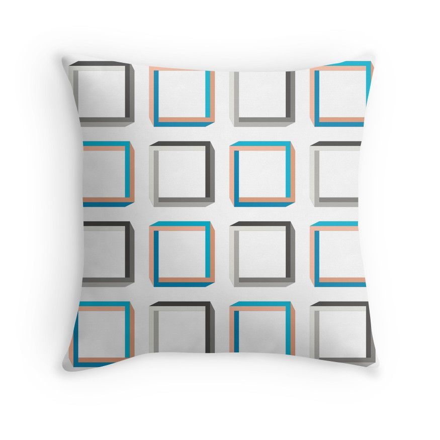 """""""Subtle 3D effect impossible squares pattern."""" Throw Pillows by cesarpadilla 