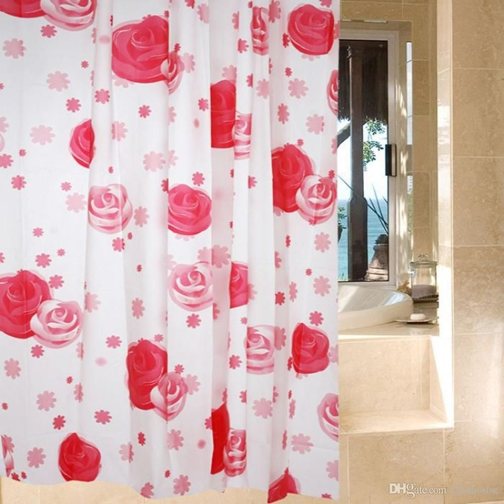 Rose Fabric Shower Curtain