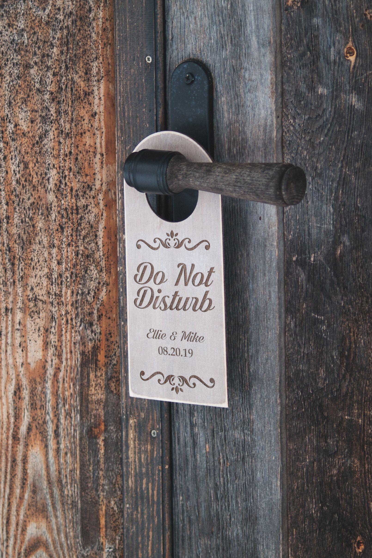 Do not disturb hotel room wedding door hanger