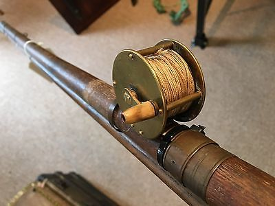 Antique 1800s Wood Fishing Rod Brass Reel Old Sporting