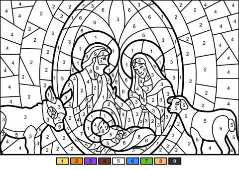Christmas Nativity Scene Color By Number Coloring Page Nativity Coloring Pages Nativity Coloring Printable Christmas Coloring Pages