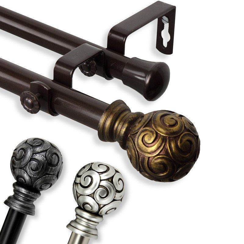 Instyledesign Lux Adjustable Double Curtain Rod Set Double