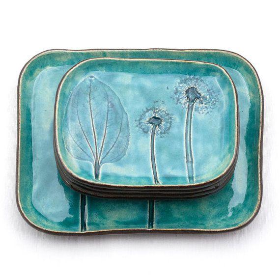 Wiesenpflanzen Und Lowenzahn Turkis Keramik Teller Mit Dessertteller Gerichte Floralen Muster Set Mit Bildern Keramikplatten Keramik Teller Topfern