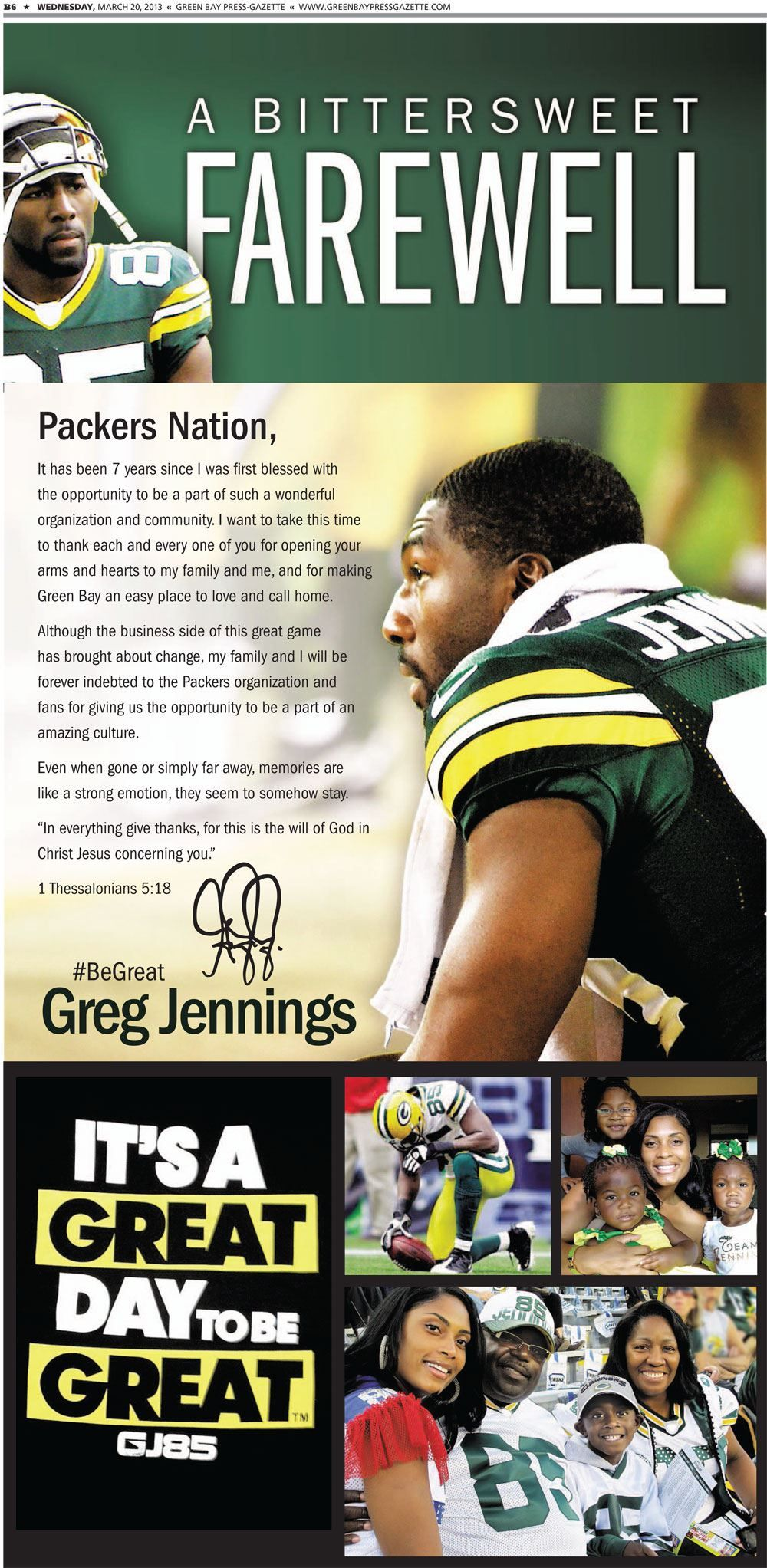 Greg Jennings Took Out This Ad In The Green Bay Press Gazette Today Thanking Fans And The P Green Bay Packers Fans Green Bay Packers Football Green Bay Packers