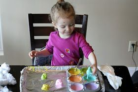 Fun at Home with Kids: Baked Cotton Balls and Cotton Ball Sensory