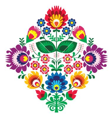 Folk Embroidery With Flowers Traditional Polish Vector Polish Folk Art Hungarian Embroidery Embroidery Flowers