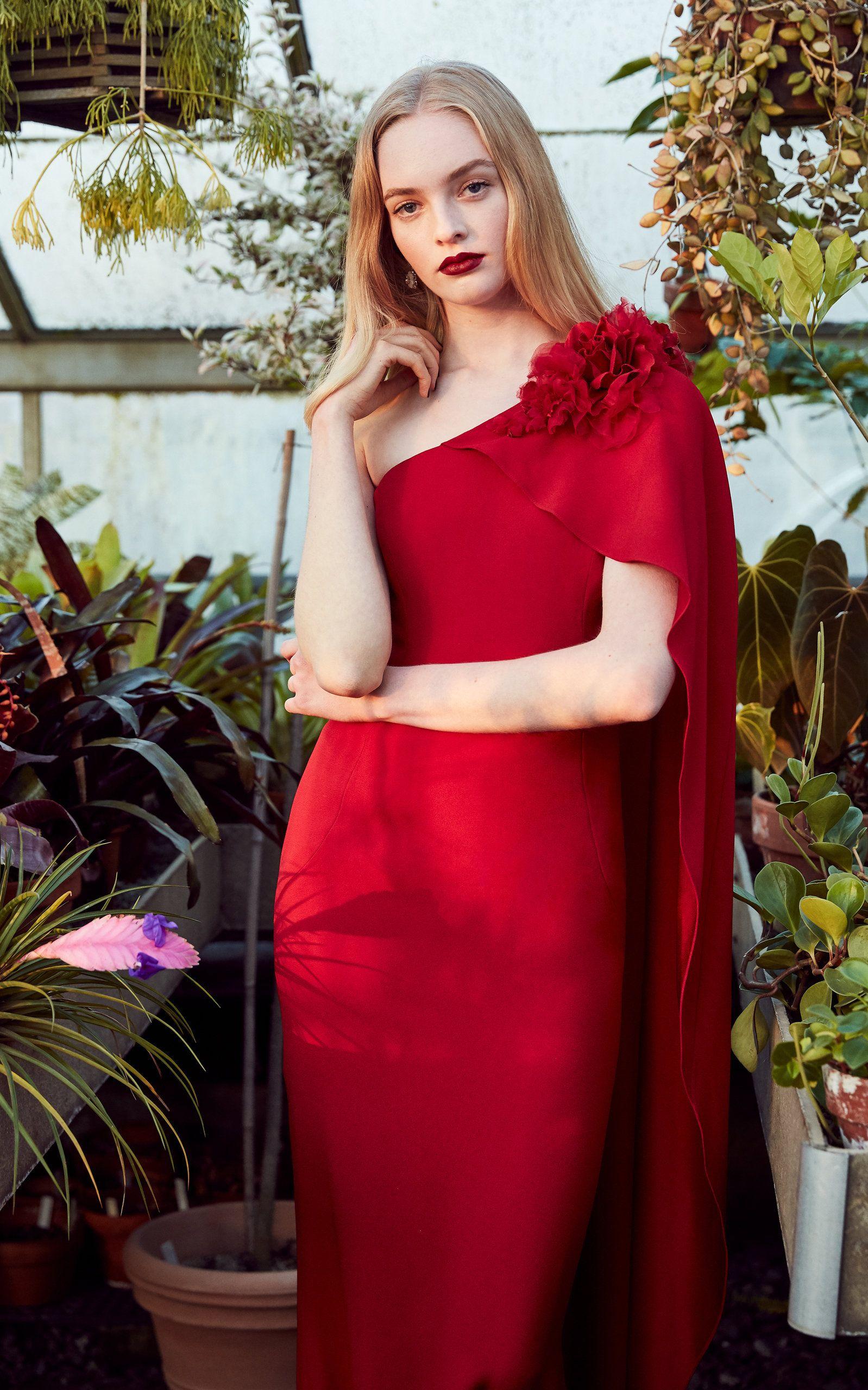 5c542923e1dd One Shoulder Crepe Column Gown | Red | Fashion, Marchesa, Dresses