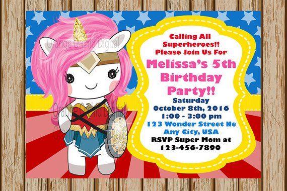 Unicorn Wonder Woman Invitation- Unicorn Birthday Invitation