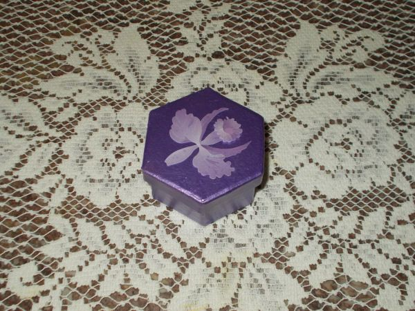 Paper Mache box painted with a metallic purple and topped off with a delicate orchid design