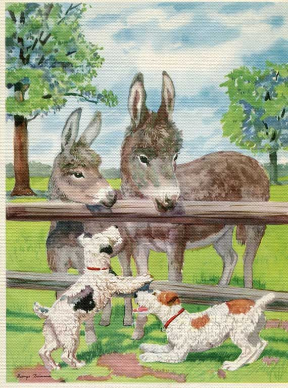 1940's Vintage Large Colorful Donkeys and Wire Hair Terrier Dogs Illustration, Print. $11.50, via Etsy.