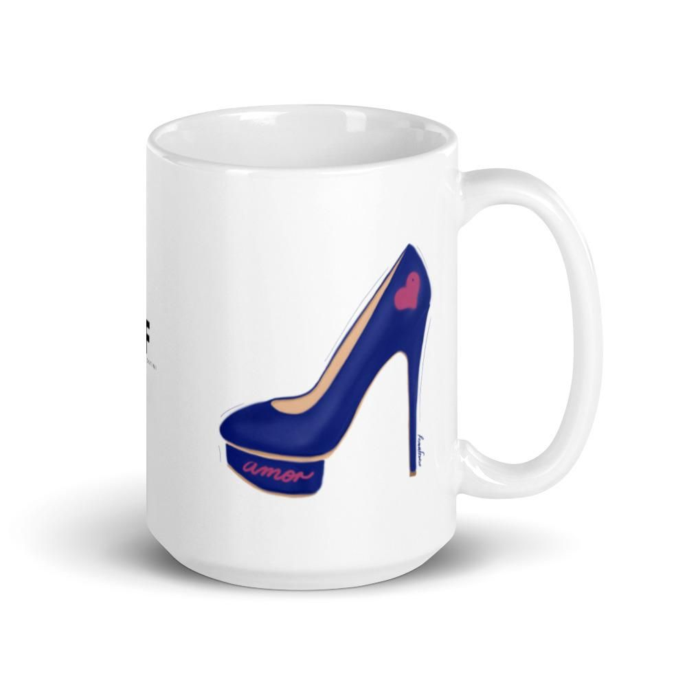 "🇺🇸 This stylish mug is perfect for shoes lovers who want to add a touch of fun to their morning coffee or afternoon tea. This white glossy cup features ""Amor Walk"" an original illustration by artist and designer Roxana Frontini. The sexy heel featured on this illustration is blue, with a pink heart and the word love written in spanish (amor). Keep reading to discover the message behind this illustration. Everything in our design store is meant to help you connect with that spark of wisdom, fun"