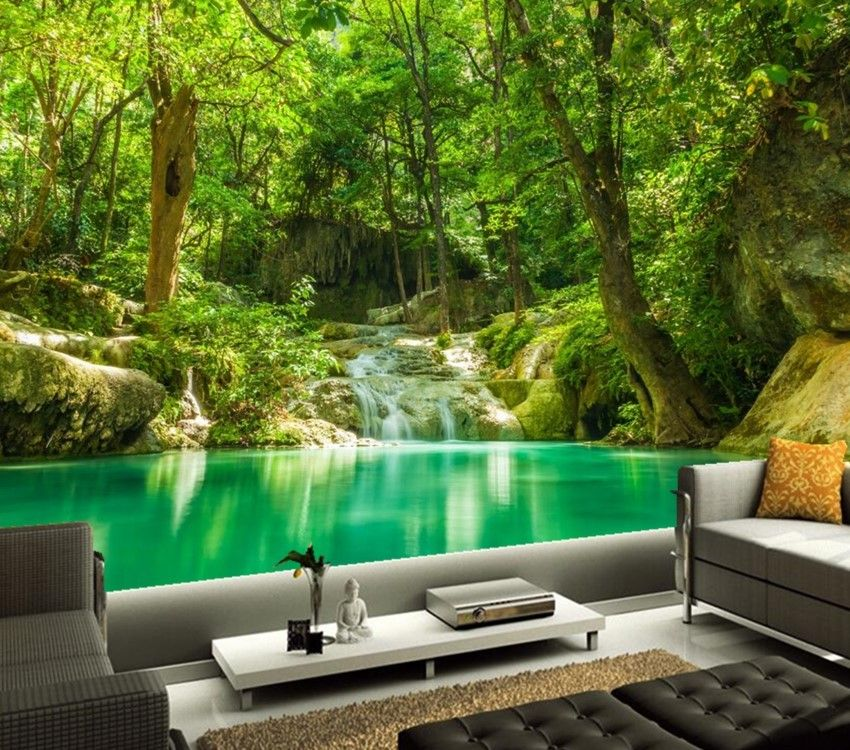Custom 3d Murals Tropics Forests Waterfall Trees Jungle Nature Wallpaper Living Room Sofa Tv Wall Bedroom Papel De Parede In Pomysly Na Mieszkanie Domy Wnetrza