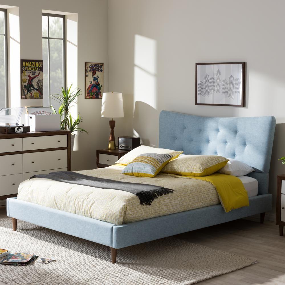 Baxton studio hannah blue full upholstered bed 288627004